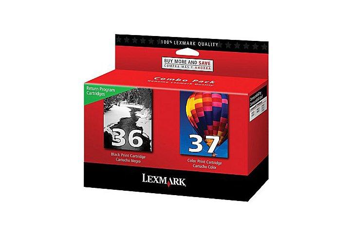 זוג ראשי דיו שחור+צבע מקוריים 36 +18C2130E+18C2140E-Lexmark 37