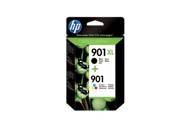 זוג ראשי דיו שחור+צבעוני מקוריים (HP  (901+901XL