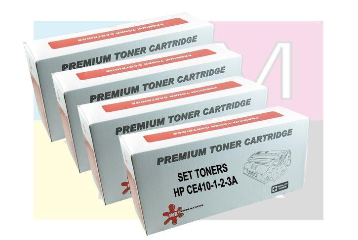 סט טונרים תואמים HP CE410-1-2-3 שחור ושלושה צבעים (305A )