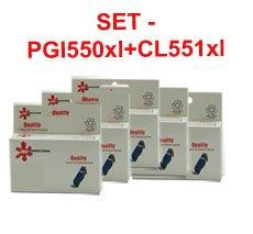 סט 5 ראשי דיו תואמים גדולים CANON CLI551C/M/Y/BKXL +PGI550BKXL