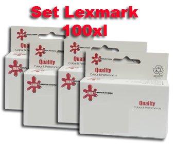 סט 4 ראשי דיו 100XL תואמים Lexmark