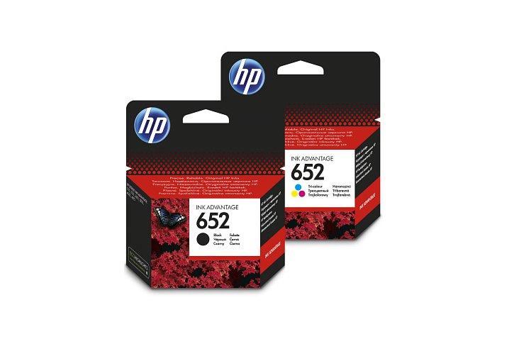 זוג ראשי דיו מקוריים (652) HP F6V25AE+F6V24AE