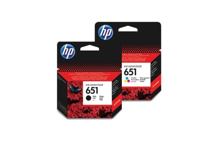 זוג ראשי דיו מקוריים (651) HP C2P11A+C2P10A