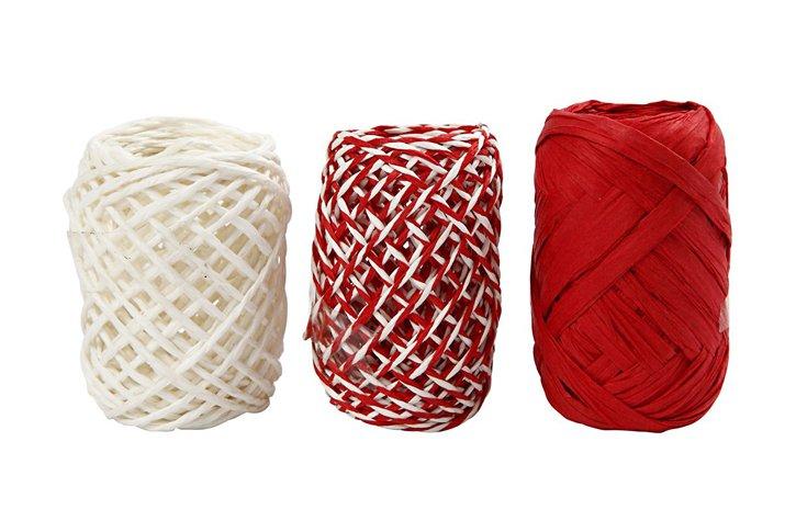 סט שלושה גלילי רפיה בגוונים אדום ולבן