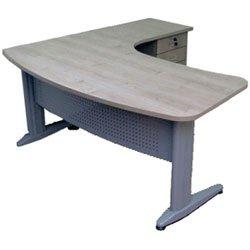 שולחן משרדי ארגונומי רגל אלפא כולל מגירות